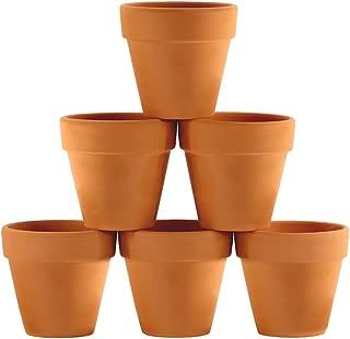 Winlyn 6 Pcs Terracotta Pot Clay Pots 4'' Clay Ceramic Pottery Planter Cactus Flower Pots Succulent Pot Drainage Hole- Great for Plants,Crafts,Wedding Favor Indoor/Outdoor Plant Crafts