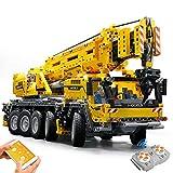 GRTVF Building Blocks Technic Series Remote Control Crane RC Mechanical Crane Bricks Model Motor Power Mobile Crane Toys for Kids and Adults