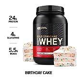 Optimum Nutrition Gold Standard 100% Whey Protein Powder, Birthday Cake, 2 Pound (Packaging May...