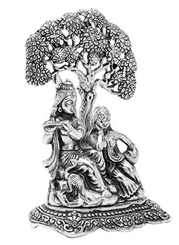 The Hue Cottage Lord Krishna Radha Statue Indian Hindu religiöse Figur Weißmetall Prunkstück Inneneinrichtung