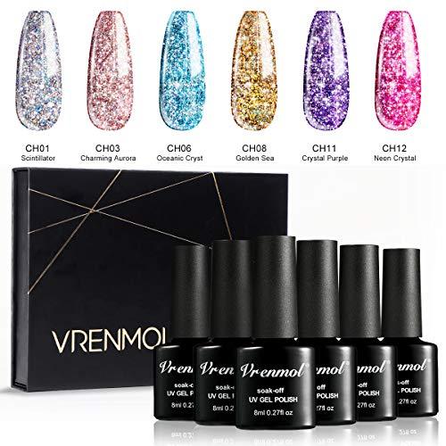 Vrenmol Diamond Shiny Rainbow Gel Nail Polish 6 Colors Shiny Rainbow Glitter Gel Shiny Glitter Sequins Easy to Color Nail Art Manicure Kit 8ml