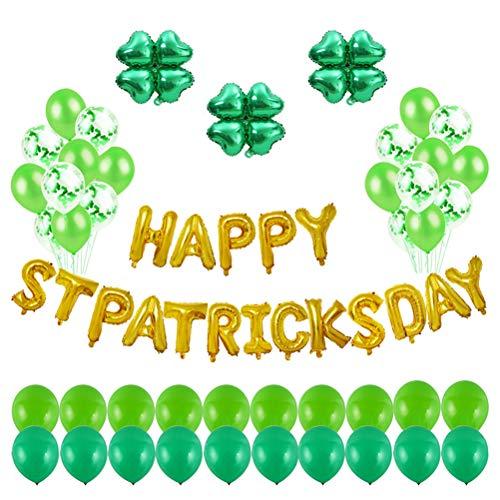 VALICLUD Chic 63 Stück Saint Patrick's Day Latex und Folie Luftballons Kit Runde Ballon Dekor Happy Stpatrick's Day Banner Foto Requisiten