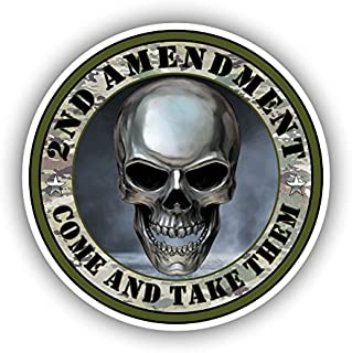 2nd Amendment Come and Take Them Skull Gun Rights Vinyl Sticker Car Truck Laptop Window Bumper Decal