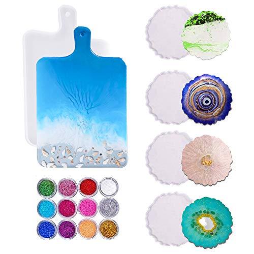 Molde de silicona con forma de posavasos de resina epoxi, 5 piezas Mold Mold Mold con 12 lentejuelas de colores para manualidades, resina artística, decoración de mesa