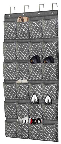 VERONLY Over The Door Shoe Organizer 24 Large Pockets - Hanging Shoe Holder Rack with 4 Big Hooks for Storage Men SneakersHigh Heeled and Other Various Shoes252x 685-Grey with Printing