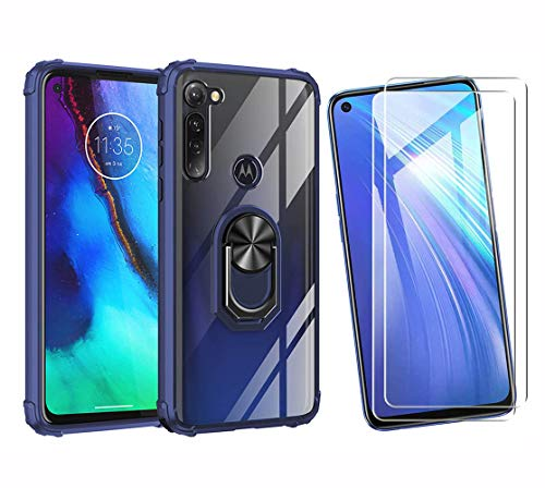 HAOTIAN Funda para Motorola Moto G Pro Funda y 2 Cristal Templado, Anillo Giratorio de 360 Grados Estuche Duro de la PC+TPU de Parachoques para Soporte Móvil Coche Magnético, Azul