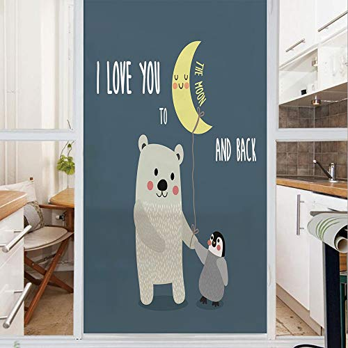 Decorative Window Film,No Glue Frosted Privacy Film,Stained Glass Door Film,Teddy Bear and Penguin Best Friends Arctic Lovers under Moon Cartoon Decorative,for Home & Office,23.6In. by 78.7In Slate Bl