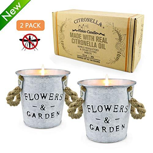 TOFU Citronella Duftkerzen, 13,5 Unzen Anti Mücken Natur Soja Wachs Eimer Kerzen Blumentopf Reise Zinn Kerzen-Sets für drinnen oder draußen, Garten, Terrasse, Camping Picknick -2 Packungen