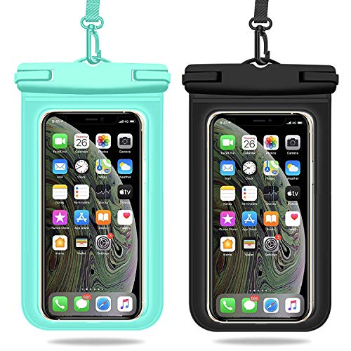 Weuiean Waterproof Phone Case, Waterproof Phone Bag with Detachable Lanyard, Phone Dry Bag for iPhone 12/11/SE/XS/XR 8/7/6Plus, Samsung S21/20/10/10+/Note up to 6.9 inch - 2Pack Black+Mint