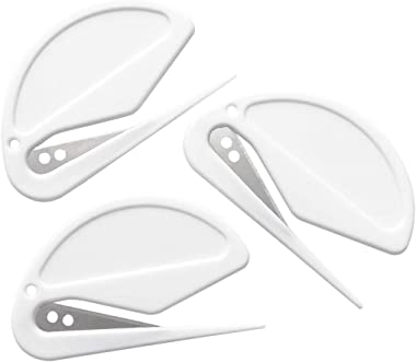 3 Pack Letter Openers Envelope Slitters, Plastic Mail Opener with Blade Paper Knife, Pure White