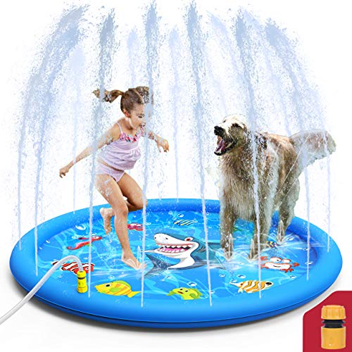 Sprinkler Pool for Kids,Splash Pad,Wading Pool,Children's Inflatable Water Play Mat Toys,Outdoor Backyard Summer Swimming Water Party Fountain Pool,Water Jet Purling for Babies and Toddlers,60 inch