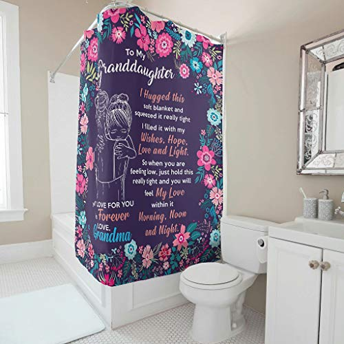 WellWellWell To Daughter My Hugged I This Soft Blanket And Squeeze It Really Tight Flower 2 Shower Curtains Mildew Resistant Bathroom Sheer Cloth Machine Washable White 200 x 180 cm