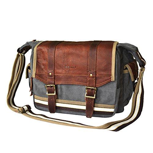 E-Bestar Borsa uomo donna unisex a tracolla spalla tasca cartella Shoulder Bag tela sacchetto per PC portatile l'ufficio tempo libero aperto (Grigio)