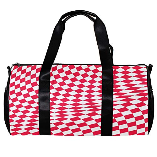 Round Gym Sports Duffel Bag With Detachable Shoulder Strap Red Nad White Square Pattern Training Handbag Overnight Bag for Women And Men
