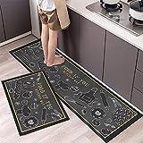 Alfombrillas de Cocina con Estampado de Patrones de vajilla, Alfombrillas de Entrada para el Interior del hogar, alfombras absorbentes Antideslizantes para baño A7 40x120cm