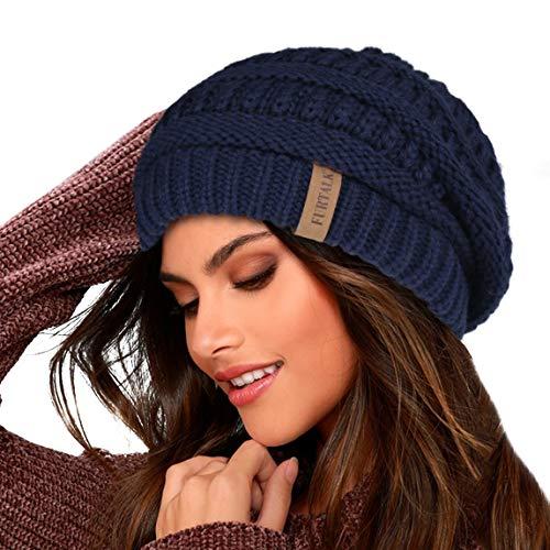 FURTALK Damen Beanie Mütze Warme Wintermütze mit Weichem Innenfutter Gefütterte Strickmütze