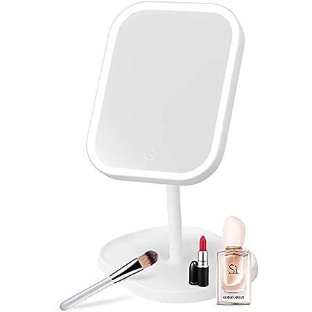Espejo maquillaje con luz, Espejo para maquillarse con Pantalla Táctil, Espejo de maquillaje de Mesa USB con 31 luces LED, Rotación de 180 grados, 3 Niveles Brillo regulable espejo cosmético de luz