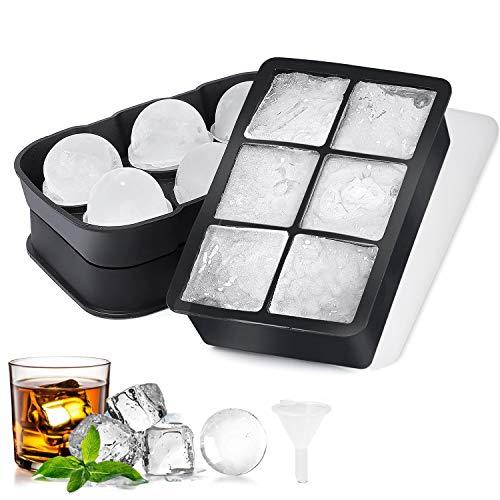 Etercycle Eiswürfelform, Eiskugelform 6-Fach Eiswürfelbehälter mit Deckel Silikon Eiswürfelformen Würfel Eiswürfel Form für Whisky, Cocktails, Saft und Bier, Wiederverwendbar und BPA-frei