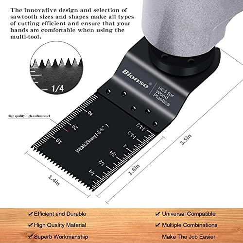 Bionso 20PCS Oscillating Tool Blades, Professional Multitool Blades for Wood and Metal, Multi Tool Saw Blades Fit Dewalt Milwaukee Rockwell Dremel Makita Rigid Ryobi Fein Bosch Craftsman