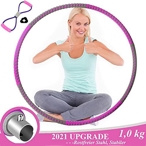 Aenamer Hula Hoop Reifen, Fitness Hoola Hoop Reifen Erwachsene aus Edelstahl mit Widerstandsband, 6 Abnehmbare Abschnitte Hula Hoop für Gewichtsreduktion und Massage (Lila-grau)