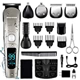 Beard Trimmer for Men,MIGICSHOW Hair Trimmer Hair Clippers IPX7 Waterproof 15 in 1 Grooming Kit 2...