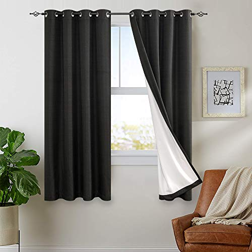Blackout Curtains for Bedroom 63 inch Length Thermal Insulated Lined Curtain Panels for Living Room Darkening Window Treatment Sets, 2 Panels, Black