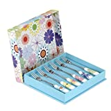 Crazy Daisy Pastry Forks S/6, Stainless Steel, Multi, 16x1.5x1 cm