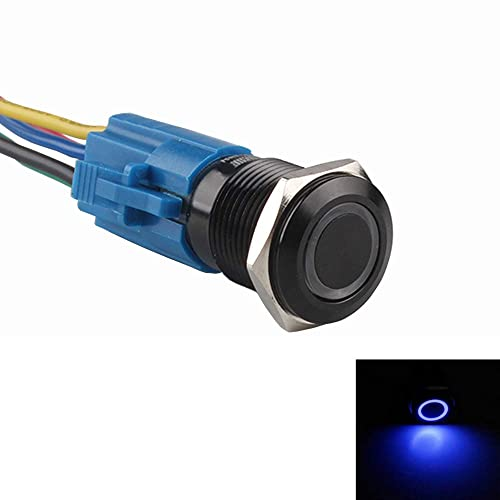 Car 16mm 12V 3A Green LED Light Lamp Button Toggle Switch Black Metal Plug Sales
