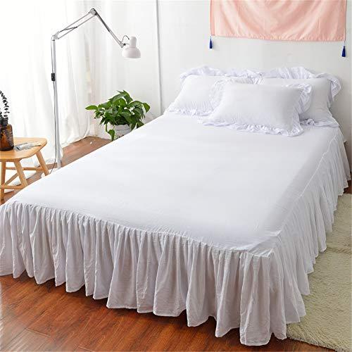 FEYART Ultra weicher Bettrock mit Rüschen, Polyesterfasern, gerüschtes Bettlaken (weiß, 180 x 200 cm Bettvolck)