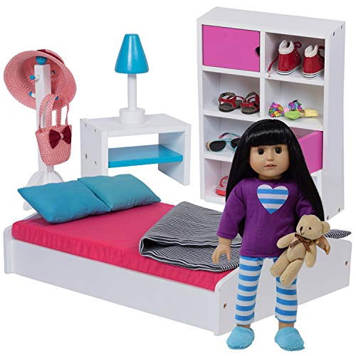 "The New York Doll Collection 18"" Doll Bed & Bedroom Set for Dolls - Doll Furniture Fits American Girl Dolls"