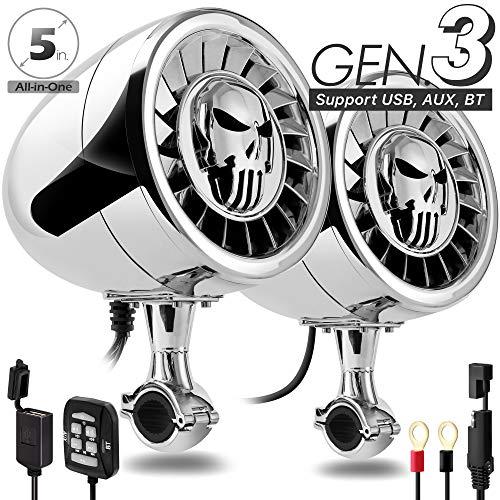 "GoHawk AS5-X Gen.3 All-in-One 600W Built-in Amplifier 5"" Full Range Waterproof Bluetooth Motorcycle Stereo Speakers Audio Amp System, 1 to 1-1/4"" Ape-Hanger Handlebar Harley Custom Touring Cruiser"