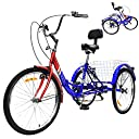 Adult Folding Tricycle 7 Speed Three Wheel Bikes, 24 inch