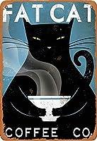 デブ猫コーヒー金属ヴィンテージティンサイン壁装飾インチカフェコーヒーバーレストランパブ男洞窟装飾