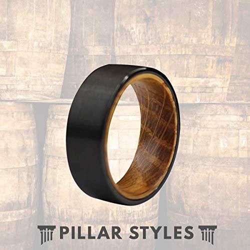 8mm Whiskey Barrel Rings for Men Black Tungsten Wedding Band Bourbon Barrel Ring