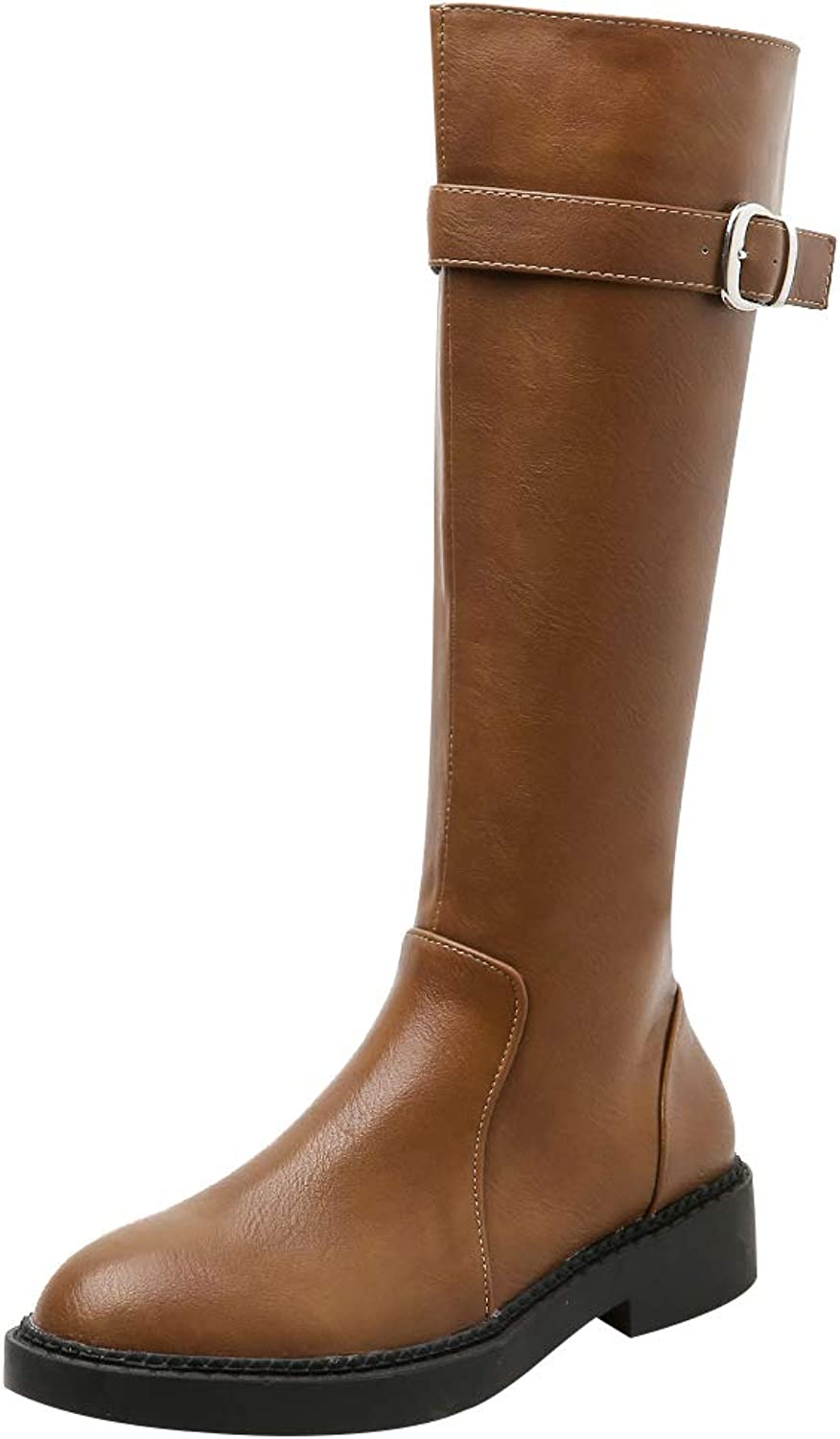 Jamron Women Western Trendy Horse Riding Boots Stylish Half Boots Water-Proof Faux Leather Zip Boots