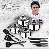 San Ignacio Premium Set de Bateria 8 Piezas + 4 Cuchillos 3 Utensilios de Cocina, Gris y Negro