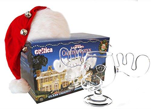 Cultica Schöne Bescherung Elchglas Christmas Vacation Moose Mug aus Glas offiziell lizensiert in Warner Brothers Fotobox inklusive Clark Griswold Weihnachtsmann Mütze wie im Film