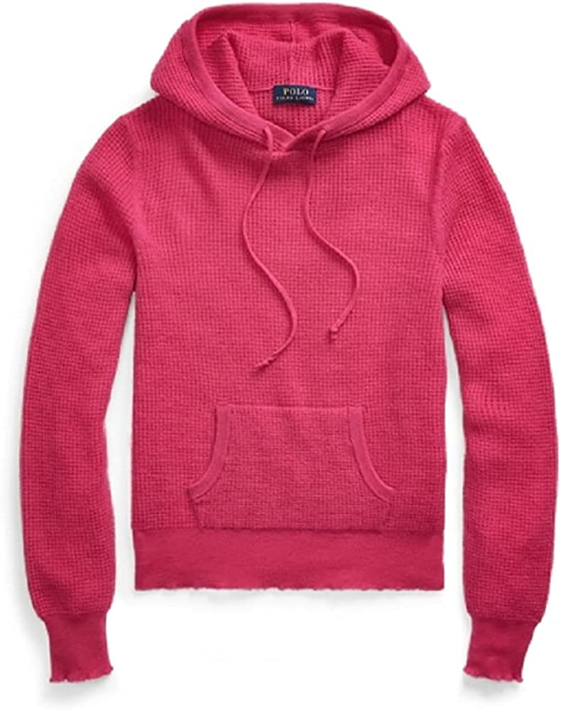 Ralph Lauren ACCENT PINK Women's Waffle-Knit Cashmere Hoodie, US X-Large