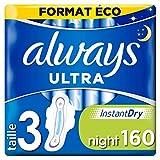 Always Ultra - Serviettes hygiéniques, Nuit, Format éco x160