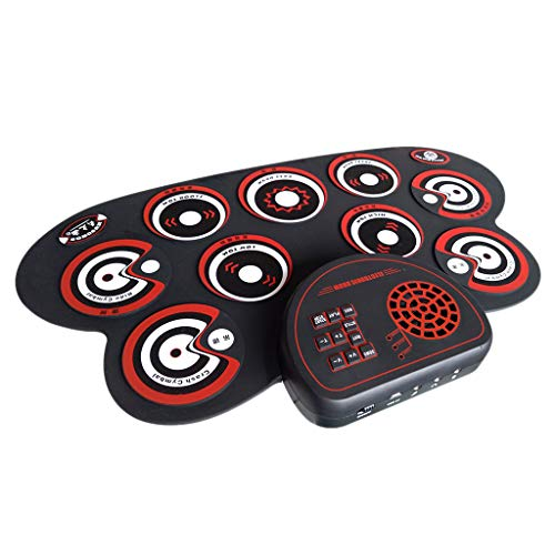 B Blesiya Kinder Desktop Handroll Elektronische Trommel Elektronische Tisch-Trommel - Rot