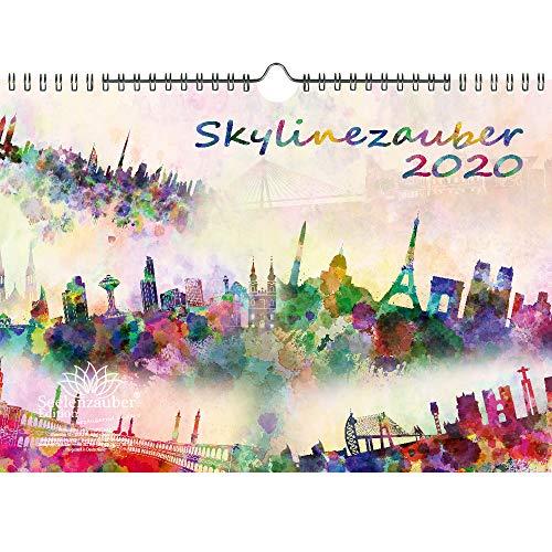 Skylinezauber DIN A4 Kalender 2020 Skylines in Aquarell Geschenk-Set: Zusätzlich 1 Grußkarte 1 Weihnachtskarte - Seelenzauber