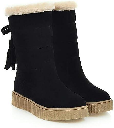 ZHRUI botas de Nieve para mujer zapatos de algodón de Invierno Impermeables, cálidas y acogedoras botas para la Nieve, marrón, 38 (Color   negro, tamaño   41)