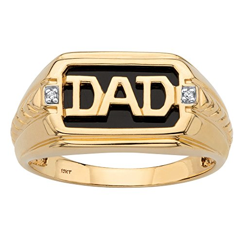 Men's Solid 10K Yellow Gold Emerald Cut Genuine Onyx and Diamond Accent Dad Ring Size 12