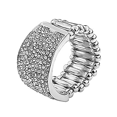 Nicole Miller New York Silvertone Adjustable Stretch Full Loaded Crystal Rhinestones Ring