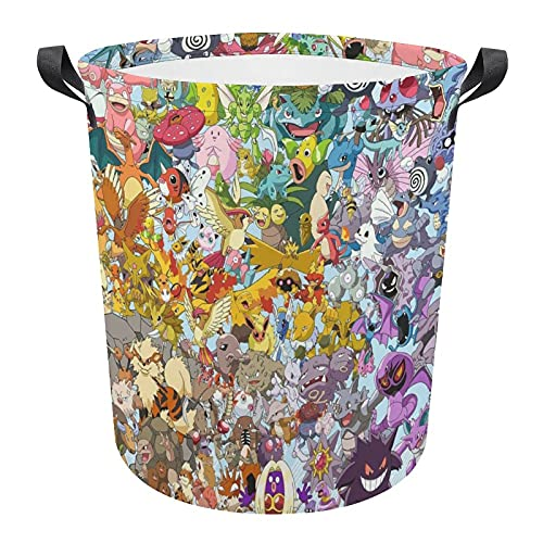 Pokemon Panier à linge circulaire pliable avec poignée durable pour chambre à coucher, salle de bain, jouets