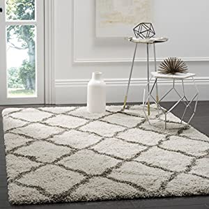 SAFAVIEH Hudson Shag Collection SGH283A Moroccan Trellis Non-Shedding Living Room Bedroom Dining Room Entryway Plush 2-inch Thick Area Rug, 8′ x 10′, Ivory / Grey