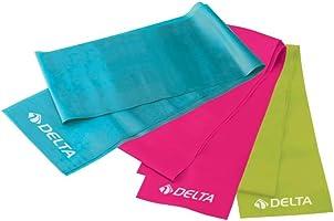 Delta Elite Deluxe Pilates Egzersiz Bandı, 3'lü, Mavi/Pembe/Yeşil