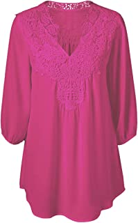 Womens Blouses Solid Lace Patchwork T-Shirt Sleeve Loose Tops Plus Size