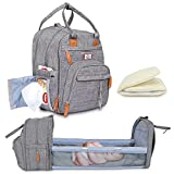 COOLLIONS Baby Diaper Bag 3 in 1 Mummy Backpack for Sleeping | with Changing Station, Stroller Straps, Travel Foldable, Portable Bed, Large Capacity Bassinet, Insulated Pockets | Water Proof Gray |