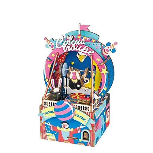 3D Puzzles Modelo Mecánico Modelos Kits de Construcción Para Adultos Diy Parque de Música de Madera Modelo Diy Puzzle 3D Caja de Música Móvil Juguete Para Niños Regalo-Parque de Atracciones